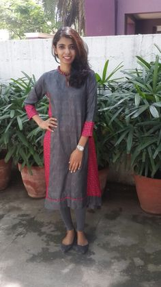 Grey and pink tussar tunic