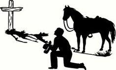 Cowboy Kneeling at Cross | cowboy kneeling with angel horse