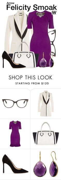 """""""Arrow"""" by wearwhatyouwatch ❤ liked on Polyvore featuring Tom Ford, Alexander McQueen, Matthew Williamson, Furla, Jimmy Choo, television and wearwhatyouwatch"""