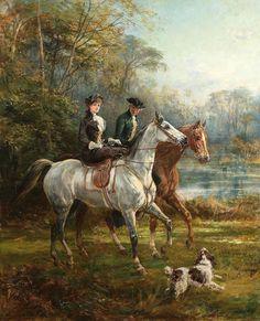 Victorian horses riders dog landscape Heywood Hardy original aceo painting art in Art Painting, Equestrian Art, Vintage Art, Animal Art, Old Paintings, Classic Art, Victorian Paintings, Horse Art, Victorian Art
