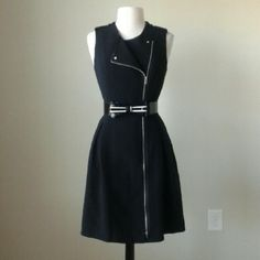 Iconic artist moto zip fit flare dress size 10 BELT NOT INCLUDED!  Fit and flare silhouette,  grosgrain epaulettes at shoulders with silvertone snaps, fully lined, full length exposed zipper, 95% polyester,  5% spandex,  bust 38 inches, waist 32 inches, length 38 inches White House Black Market Dresses Midi