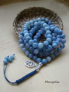 108 Mala bead necklace, Aquamarine Mala beads, meditation Yoga Japa Mala…