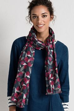 A lightweight, pure cotton scarf with relaxed frayed edges, in a choice of original designs created by our talented in-house artists. Comfort And Joy, Cotton Scarf, All Gifts, Winter Wardrobe, Printed Cotton, Plaid Scarf, My Style, Pretty, Clothes