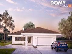 Projekt domu Kiwi 4 on Behance Future House, House Plans, Garage Doors, Farmhouse, Kiwi, Outdoor Structures, Outdoor Decor, Gallery, Home Decor