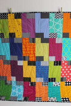 "Modern Baby Quilt; ""James""; Contemporary; Bright Colors; Geometric; Squares; Baby Quilt; Lap Quilt; Play Mat; Wall Hanging; Gender Neutral"