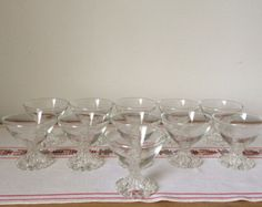 Vintage Set of 15 Anchor Hocking Boopie Champagne/ Sherbet Glasses,Clear Glass Dessert Dish