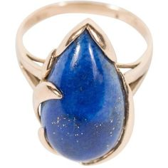 Preowned Mid-century Modernist Lapis Lazuli Gold Ring ($645) ❤ liked on Polyvore featuring jewelry, rings, multiple, gold jewellery, pear cut ring, 14 karat gold ring, yellow gold rings and 14 karat gold jewelry