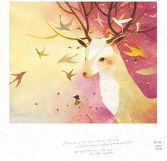 So poetic and so beautiful - the Korean illustrator called Chun Eun Sil makes me dream Deer Illustration, Photography Illustration, Orange Wall Art, Korean Painting, Street Art, Quirky Art, Deer Art, Oh Deer, Amai
