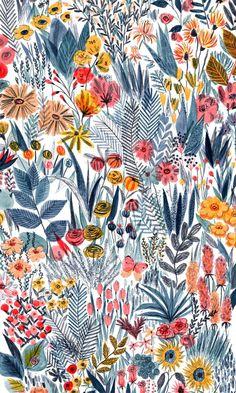 Illustration fleurie (c) Mouni Feddag Art Floral, Motif Floral, Floral Prints, Art Prints, Botanical Prints, Canvas Prints, Retro Floral, Lino Prints, Block Prints