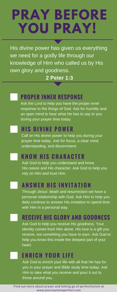 God will equip us for living a life that is pleasing to Him. This includes equipping us for our prayer life! Empower your prayer life by praying over these 6 areas before you go into your prayer time. Based on a Greek word study of 2 Peter 1:3! Click to read more! via Journey to Imperfect