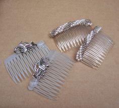 Decorative hair comb 4 mid century hair combs by ElrondsEmporium