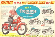 1961 Triumph Motorcycle Line with pictures and descriptions