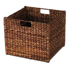 13 in. x 11 in. x 13 in. Dark Brown Banana Leaf Collapsible Storage Bin, Dark Brown Stained Banana Leafs