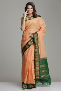 Elegant Dull Orange Garwal Cotton Saree With Self Checks And Green Pallu With Unique Gold Zari Border