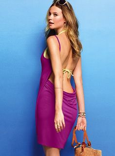 Open back cover up by Victoria's Secret... Link shows the cool way of putting the dress on!