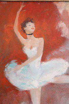 """Jean-Gabriel DOMERGUE (1889-1962) Danseuse classique Huile sur panneau d'isorel signée """"JG Domergue"""" en bas à droite  Dimensions : 45 x 37 cm"""