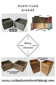 Custom made furniture risers, made of solid wood, crafted by hand. Everything made in the USA and in a smoke free environment. Custom Made Furniture, Solid Wood Furniture, Furniture Making, Furniture Risers, Bed Risers, Black Barn, Red Barns, Wood Toys, Place Card Holders