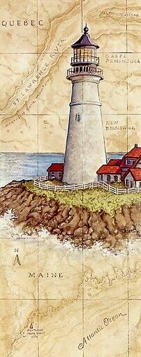 Decoupage Lighthouse - beautiful plate, and Canadian to boot! Vintage Diy, Vintage Cards, Vintage Images, Lighthouse Painting, Foto Transfer, Beacon Of Light, Old Maps, Decoupage Paper, Nautical Theme