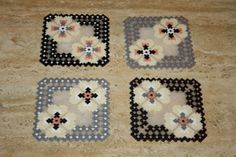 Coasters hama beads mini perler (Set of 4) by DecorarteLeon