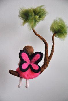 Mädchen Mobile Waldorf inspiriert Nadel Filz: Pink Butterfly