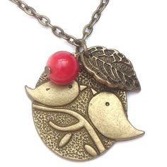 Antiqued Brass Leaf Bird Red Coral Necklace por gemandmetal en Etsy
