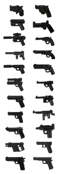 LEGO minifigure compatible handguns