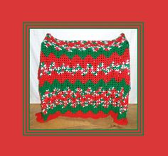 Christmas Crochet Blanket Red and Green Throw by MrsFullersAttic