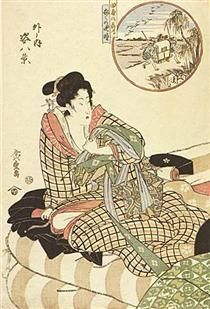 In circle, figure piece, (Outdoor) - Hiroshige