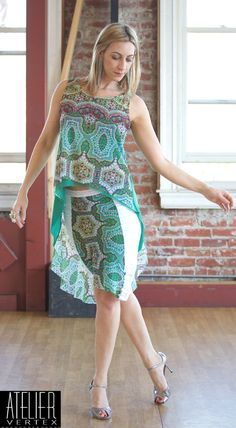 Green Print Butterfly Two-Piece Dress. Tango by AtelierVertex