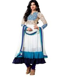 Buy Fashion White Heavy Embroidered Semi Stitched Anarkali Suit
