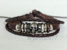 161 Men's brown leather bracelet Skull bracelet by mylenium77