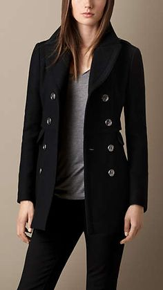 Fitted Wool Blend Twill Pea Coat