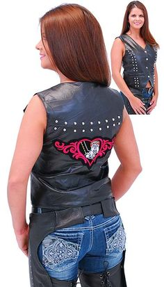 NEW  $36.99  Womens patched leather motorcycle vest with a quality embroidered heart patch and double rows of round studs on both front and back . This ladies biker vest comes with two external pockets and adjustable side lacing.