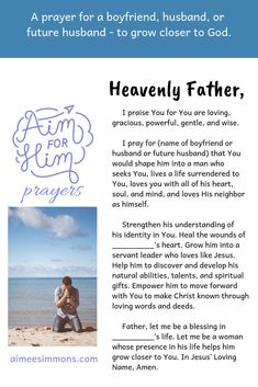 Becoming a Woman Who Helps a Man Grow in God (Part Prayers For My Boyfriend, Prayers For Men, Prayers For My Husband, Everyday Prayers, To My Future Husband, Boyfriend Prayer, Prayer Scriptures, Bible Prayers, God Prayer