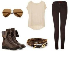 So casual and cute... I want boots like these for the fall