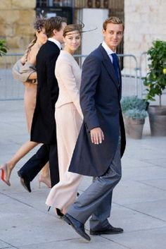 Pierre Casiraghi of Monaco and Beatrice Borromeo arrive for the religious wedding of Prince Felix of Luxembourg and Claire Lademacher in the Saint Mary Magdalene Basilica in France, 21 Sep 2013