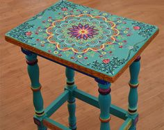 Hand painted table. Painted Furniture Boho by SunSoulCreations
