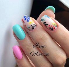 Nail Art Designs and Colors for Summer Shellac Nails, Nail Manicure, Nail Polish, Cute Nails, Pretty Nails, Dream Nails, Square Nails, Flower Nails, Perfect Nails