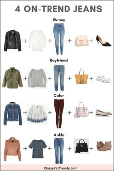 4 On-Trend Jeans & Outfit Ideas See these 4 on-trend jeans with outfit ideas! Four jeans are on-trend this year and looks like they will stick around for quite a while longer: Skinny, Boyfriend, Ankle and Colored Denim. Wear them with a white tee, striped Outfit Jeans, Lässigen Jeans, Mode Jeans, Skinny Jeans, Mode Outfits, Jean Outfits, Fall Outfits, Casual Outfits, Fashion Outfits