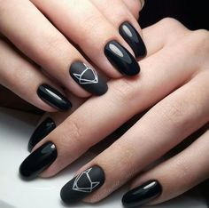 Black nails with nail art. @littledreambird