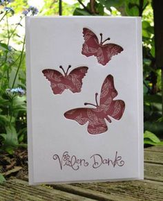 handmade card with negative space butterflies ... luv the way the three butterflies line up ... backed with patterned paper ... clean and simple design ... luv it!!