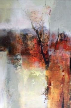 Mixed media abstract landscape painting Mystical Threshold by Intuitive Artist Joan Fullerton.