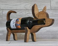 Wooden corgi alcoholder wine holder, wine rack and alcohol display for corgi dog and wine lovers - Food House Custom Woodworking, Woodworking Tips, Beagle Dog, Dachshund Dog, Wine Bottle Holders, Stain Colors, Craft Stick Crafts, Handmade Wooden, Wine Rack