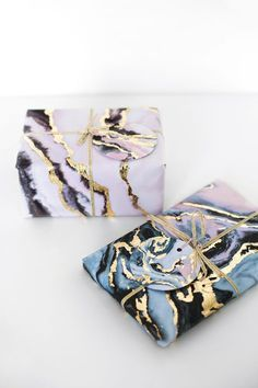 Glue gold leafing onto marble printed paper for extra fancy Christmas gift wrap TUTORIAL step by step