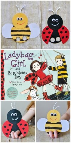 Bee & Ladybug Finger Puppet Craft to go along with the book, Ladybug Girl and Bumblebee Boy