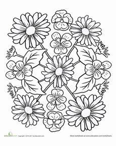 Pansies and Daisies Mandala Worksheet