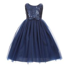 11e423196d8 Girls Navy Sequin Bodice Bow Accent Tulle Junior Bridesmaid Dress 8-14   bridesmaiddresses