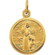 14k Yellow Gold St. Francis Of Assisi Medal 10.15x12mm - JewelryWeb - List price: $204.90 Price: $115.00 + Free Shipping