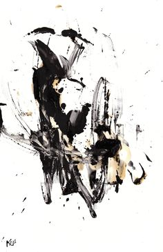 Black And White Modern Art Abstract Original 11x17 Painting ...