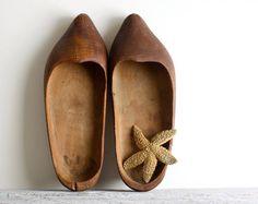Vintage Primitive Hand Carved Dutch Clogs